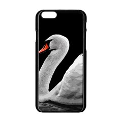 Swan Apple Iphone 6/6s Black Enamel Case by Valentinaart