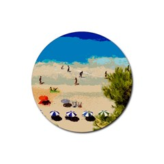 Beach Rubber Round Coaster (4 Pack)  by Valentinaart