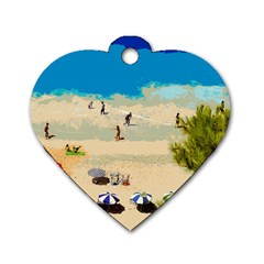 Beach Dog Tag Heart (one Side) by Valentinaart