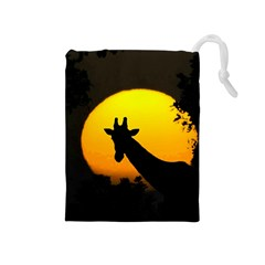 Giraffe  Drawstring Pouches (medium)