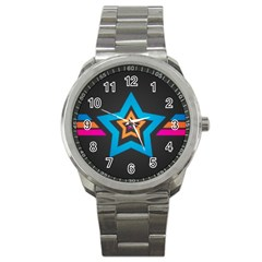 Star Background Colorful  Sport Metal Watch by amphoto