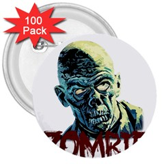Zombie 3  Buttons (100 Pack)  by Valentinaart