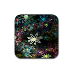Flowers Fractal Bright 3840x2400 Rubber Square Coaster (4 Pack)  by amphoto
