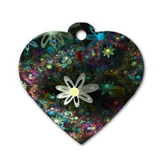 Flowers Fractal Bright 3840x2400 Dog Tag Heart (two Sides) by amphoto