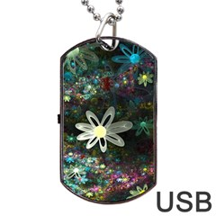 Flowers Fractal Bright 3840x2400 Dog Tag Usb Flash (two Sides) by amphoto