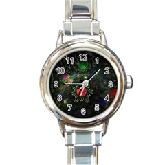 Shapes Circles Flowers  Round Italian Charm Watch by amphoto