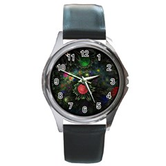 Shapes Circles Flowers  Round Metal Watch by amphoto
