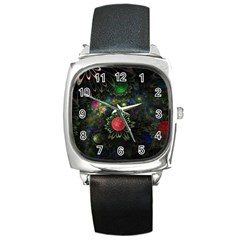 Shapes Circles Flowers  Square Metal Watch by amphoto