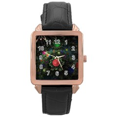 Shapes Circles Flowers  Rose Gold Leather Watch  by amphoto