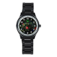Shapes Circles Flowers  Stainless Steel Round Watch by amphoto