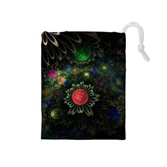 Shapes Circles Flowers  Drawstring Pouches (medium)  by amphoto