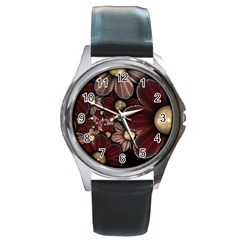 Flower Background Line Round Metal Watch by amphoto