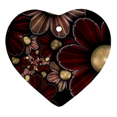 Flower Background Line Heart Ornament (two Sides) by amphoto