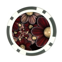 Flower Background Line Poker Chip Card Guard by amphoto