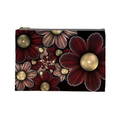 Flower Background Line Cosmetic Bag (large)  by amphoto