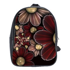 Flower Background Line School Bag (xl) by amphoto