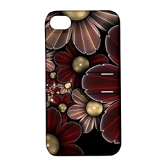 Flower Background Line Apple Iphone 4/4s Hardshell Case With Stand by amphoto