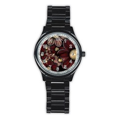 Flower Background Line Stainless Steel Round Watch by amphoto
