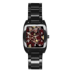 Flower Background Line Stainless Steel Barrel Watch by amphoto