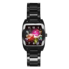 Plant Patterns Colorful  Stainless Steel Barrel Watch by amphoto