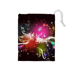 Plant Patterns Colorful  Drawstring Pouches (medium)  by amphoto