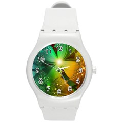 Flowers Petals Colorful  Round Plastic Sport Watch (m) by amphoto