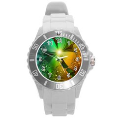 Flowers Petals Colorful  Round Plastic Sport Watch (l) by amphoto