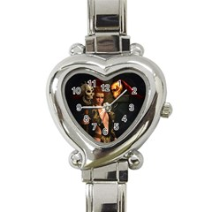 The Dark Side, Women With Skulls In The Night Heart Italian Charm Watch by FantasyWorld7