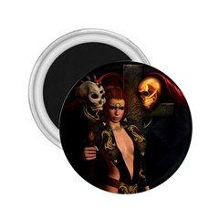 The Dark Side, Women With Skulls In The Night 2 25  Magnets by FantasyWorld7
