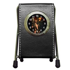 The Dark Side, Women With Skulls In The Night Pen Holder Desk Clocks by FantasyWorld7