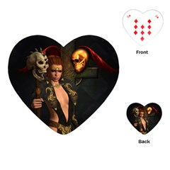 The Dark Side, Women With Skulls In The Night Playing Cards (heart)  by FantasyWorld7
