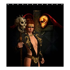 The Dark Side, Women With Skulls In The Night Shower Curtain 66  X 72  (large)  by FantasyWorld7