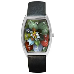 Flower Background Colorful Barrel Style Metal Watch