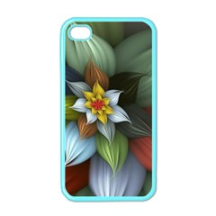 Flower Background Colorful Apple Iphone 4 Case (color) by amphoto