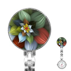 Flower Background Colorful Stainless Steel Nurses Watch by amphoto