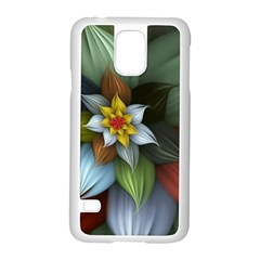 Flower Background Colorful Samsung Galaxy S5 Case (white) by amphoto