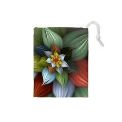 Flower Background Colorful Drawstring Pouches (small)  by amphoto