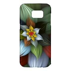 Flower Background Colorful Samsung Galaxy S7 Edge Hardshell Case by amphoto