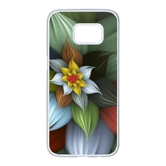 Flower Background Colorful Samsung Galaxy S7 Edge White Seamless Case by amphoto