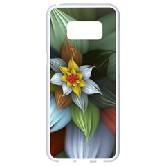 Flower Background Colorful Samsung Galaxy S8 White Seamless Case by amphoto