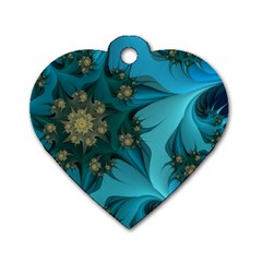 Fractal Flower White Dog Tag Heart (one Side) by amphoto