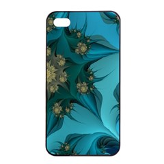 Fractal Flower White Apple Iphone 4/4s Seamless Case (black) by amphoto