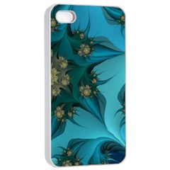 Fractal Flower White Apple Iphone 4/4s Seamless Case (white) by amphoto