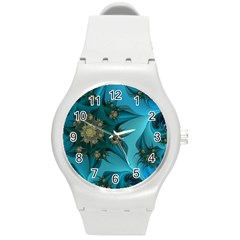 Fractal Flower White Round Plastic Sport Watch (m) by amphoto