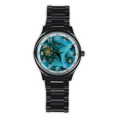 Fractal Flower White Stainless Steel Round Watch by amphoto