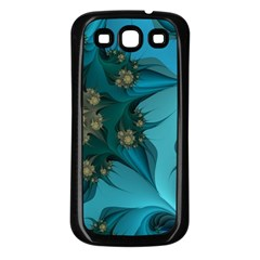 Fractal Flower White Samsung Galaxy S3 Back Case (black) by amphoto