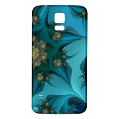 Fractal Flower White Samsung Galaxy S5 Back Case (white) by amphoto