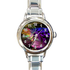 Fractal Patterns Background  Round Italian Charm Watch by amphoto