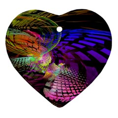 Fractal Patterns Background  Heart Ornament (two Sides) by amphoto