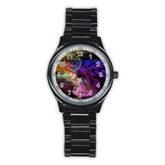 Fractal Patterns Background  Stainless Steel Round Watch by amphoto